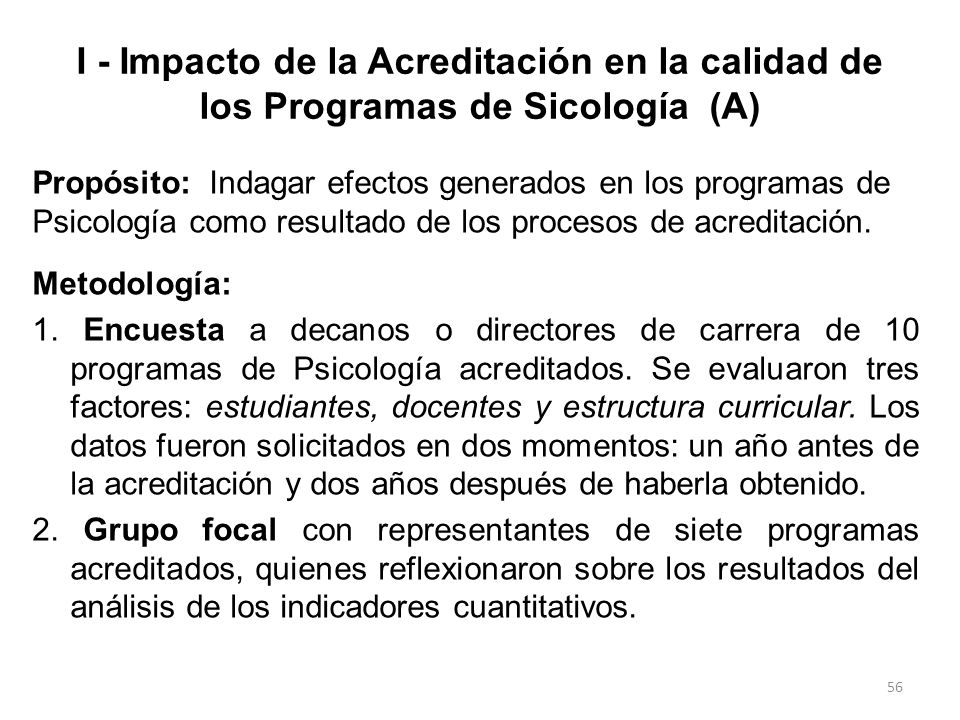 I - Impacto de la Acreditación en la calidad de los Programas de Sicología (A)