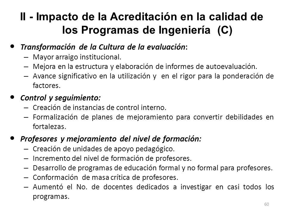 II - Impacto de la Acreditación en la calidad de los Programas de Ingeniería (C)