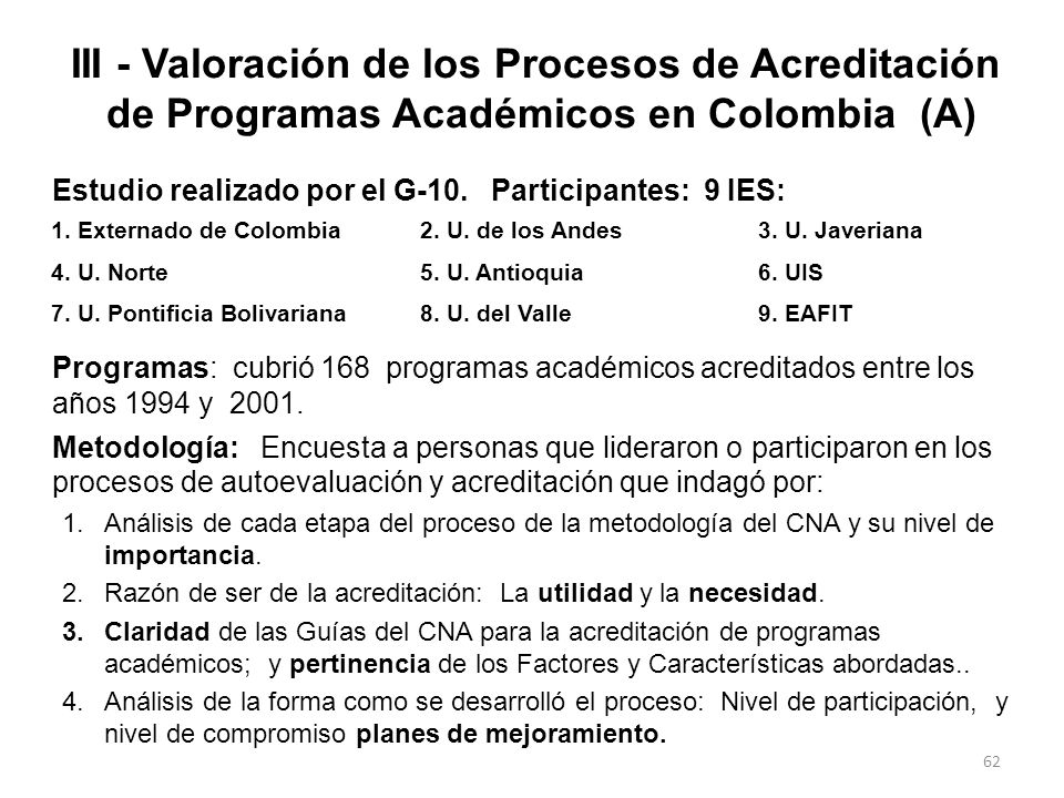 III - Valoración de los Procesos de Acreditación de Programas Académicos en Colombia (A)