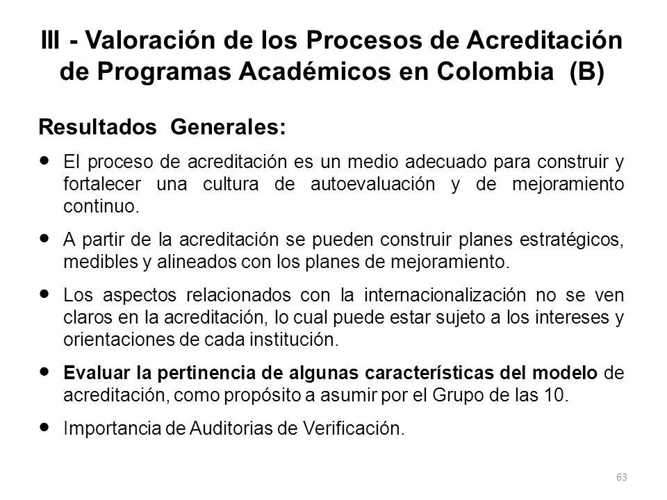 III - Valoración de los Procesos de Acreditación de Programas Académicos en Colombia (B)