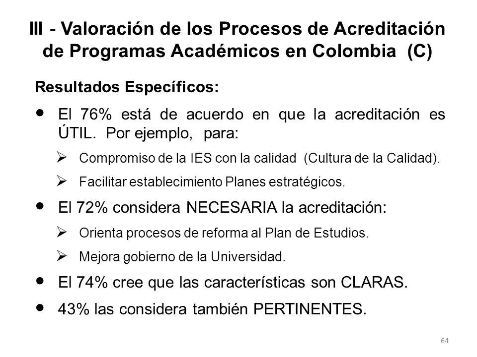 III - Valoración de los Procesos de Acreditación de Programas Académicos en Colombia (C)