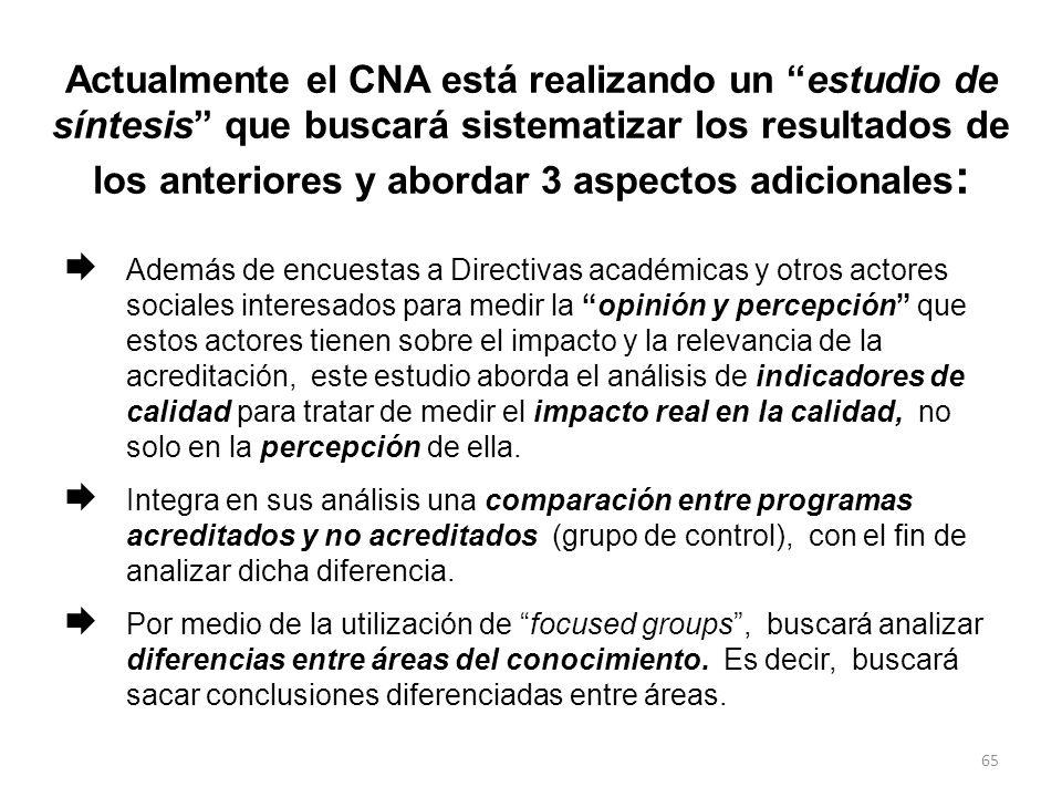 Actualmente el CNA está realizando un estudio de síntesis que buscará sistematizar los resultados de los anteriores y abordar 3 aspectos adicionales: