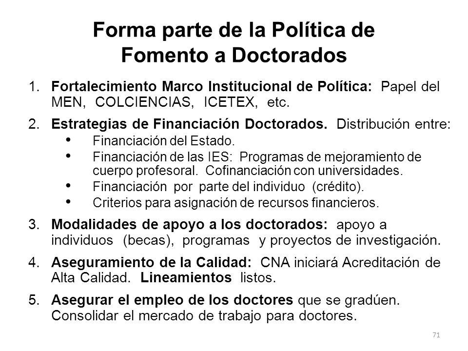 Forma parte de la Política de Fomento a Doctorados