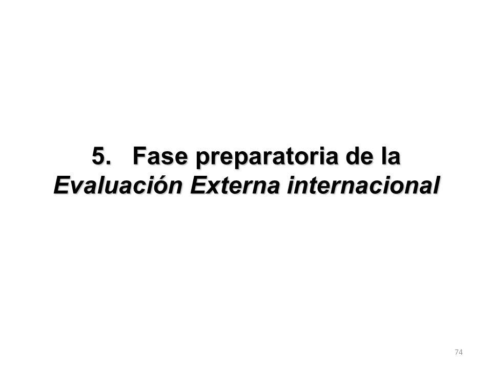 5. Fase preparatoria de la Evaluación Externa internacional