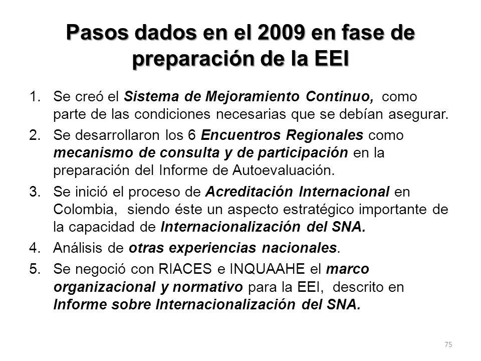Pasos dados en el 2009 en fase de preparación de la EEI