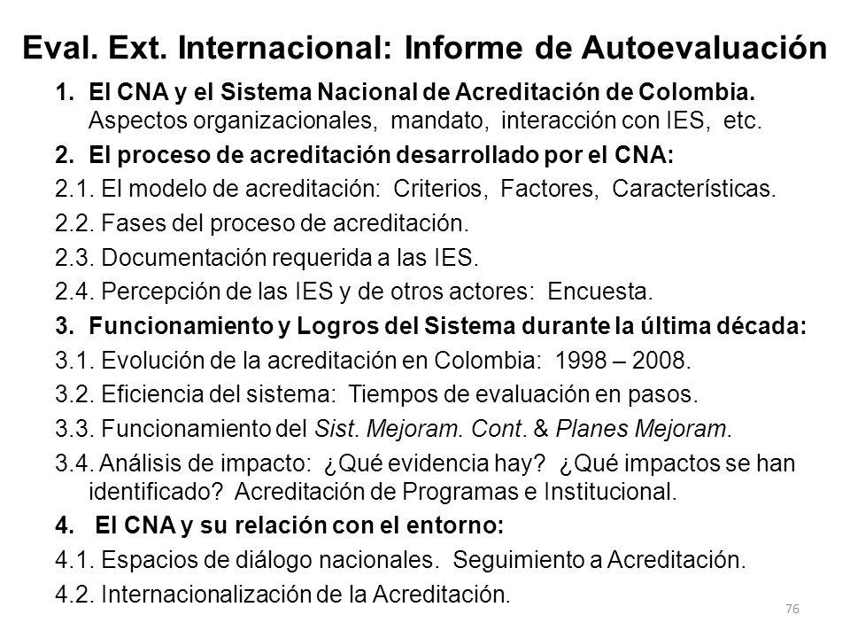 Eval. Ext. Internacional: Informe de Autoevaluación