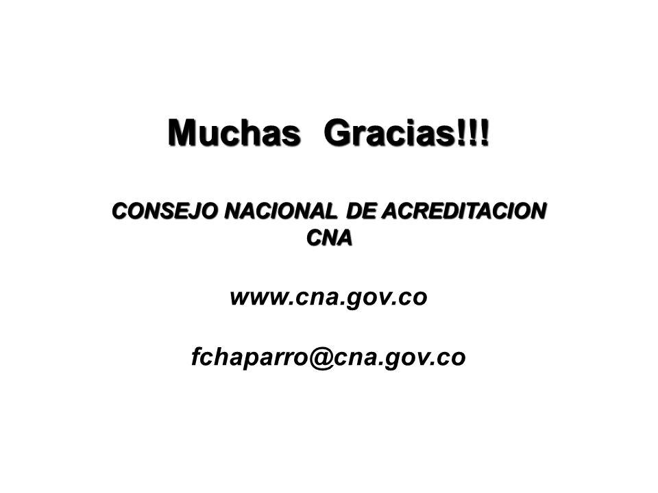 Muchas Gracias. CONSEJO NACIONAL DE ACREDITACION CNA www. cna. gov