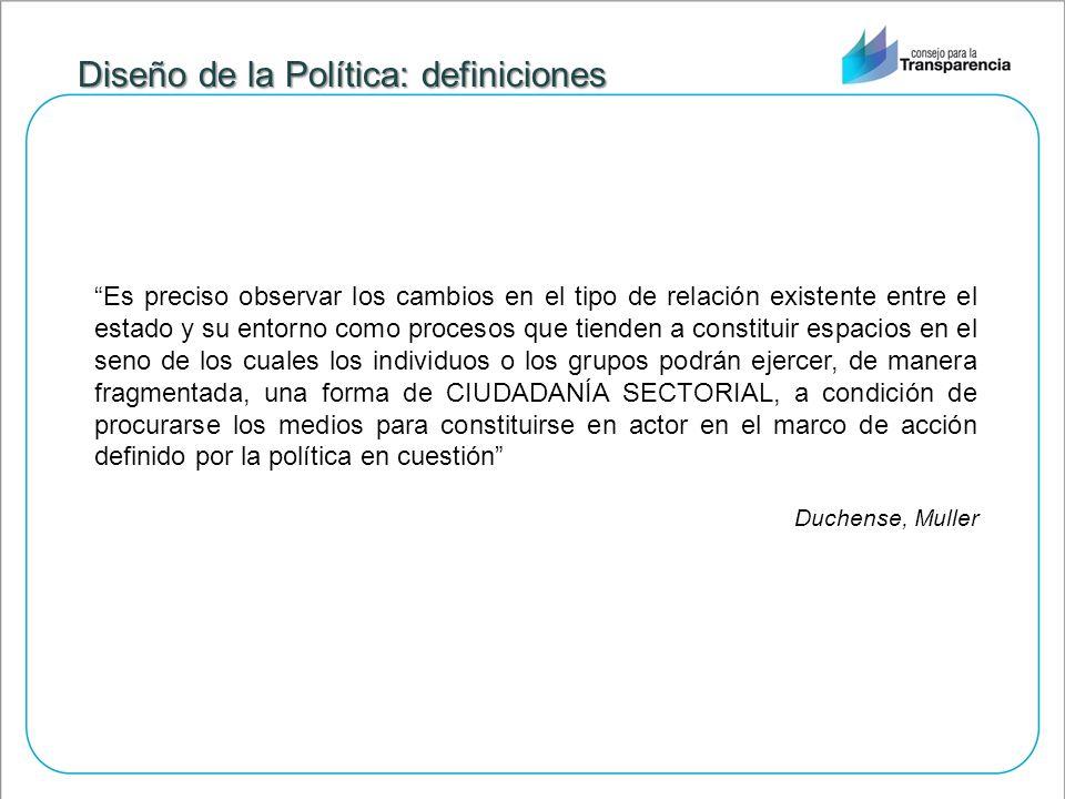 Diseño de la Política: definiciones