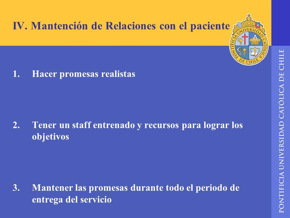 IV. Mantención de Relaciones con el paciente