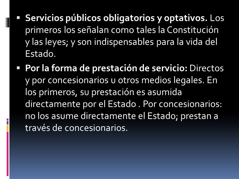 Servicios públicos obligatorios y optativos