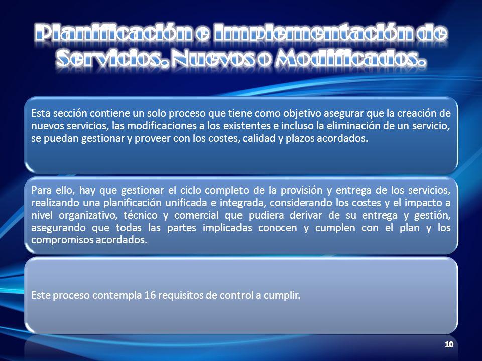 Planificación e Implementación de Servicios, Nuevos o Modificados.