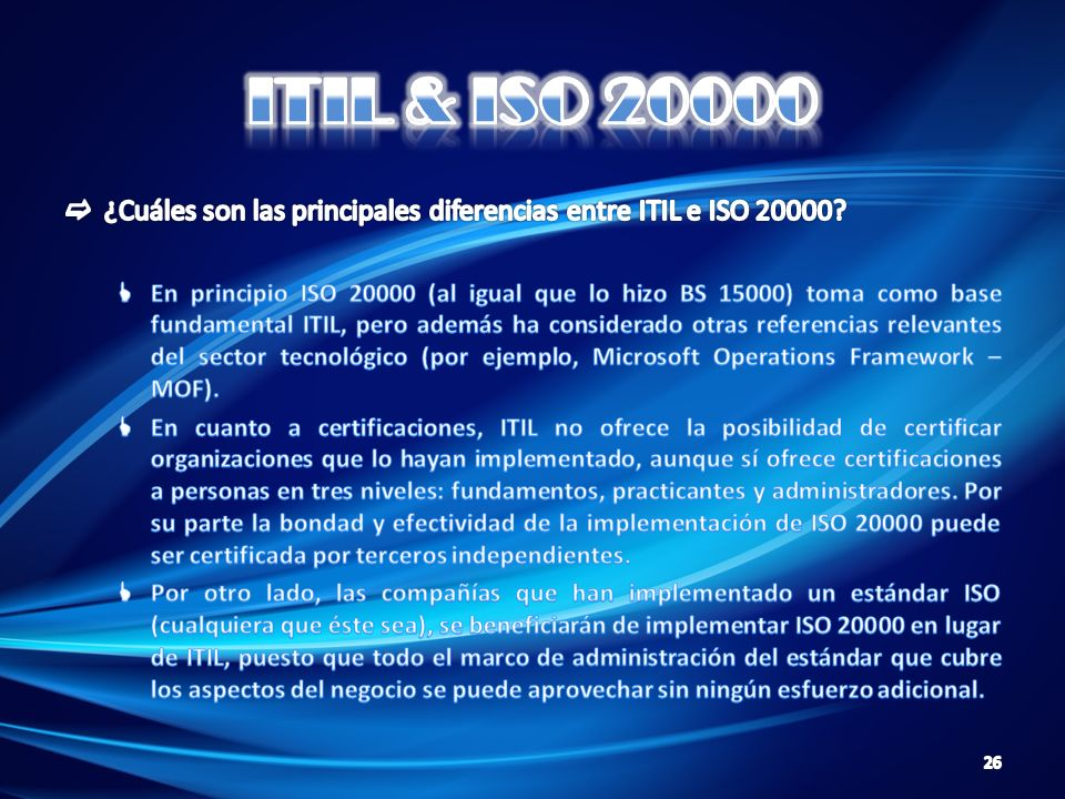 ITIL & ISO 20000 ¿Cuáles son las principales diferencias entre ITIL e ISO 20000