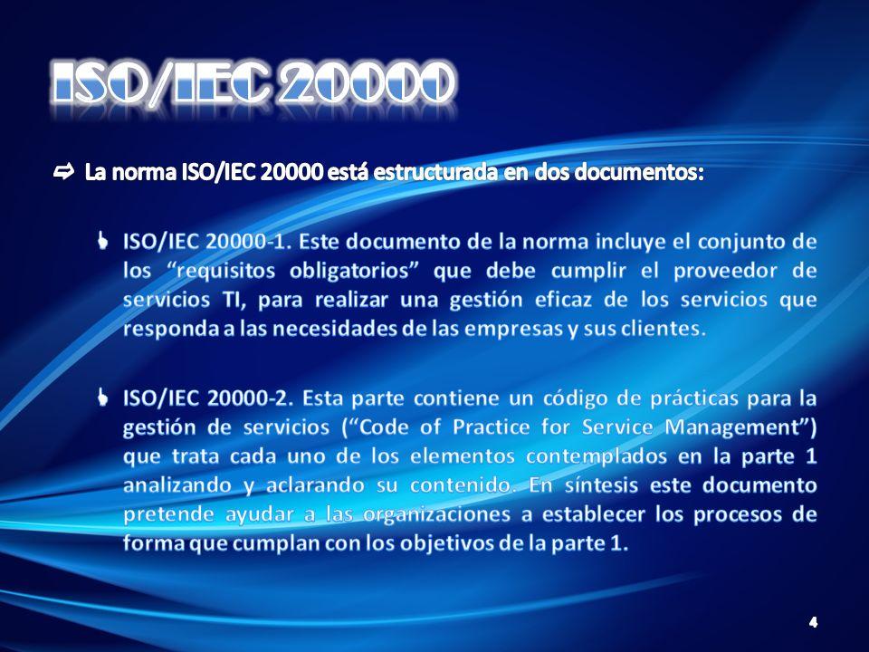 ISO/IEC 20000 La norma ISO/IEC 20000 está estructurada en dos documentos: