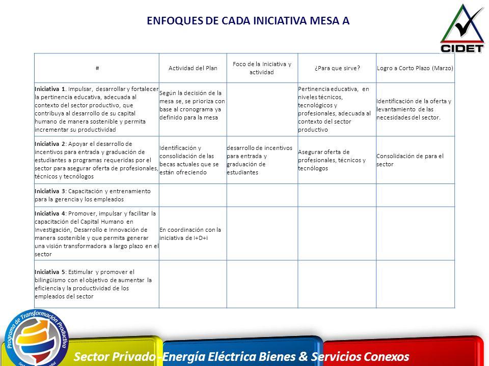 ENFOQUES DE CADA INICIATIVA MESA A
