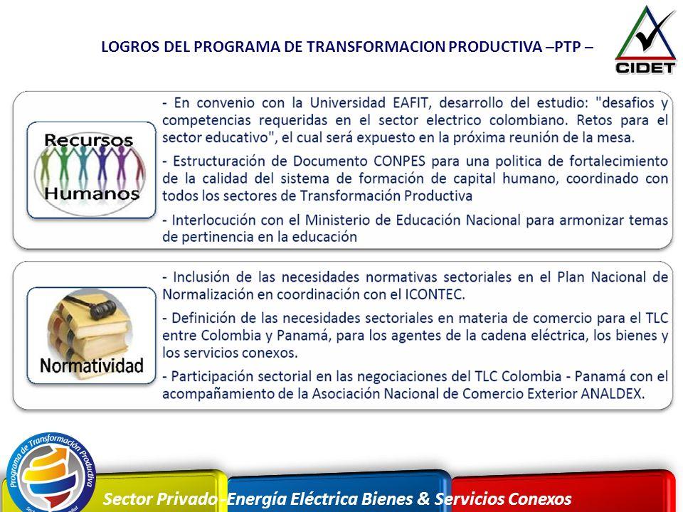 LOGROS DEL PROGRAMA DE TRANSFORMACION PRODUCTIVA –PTP –