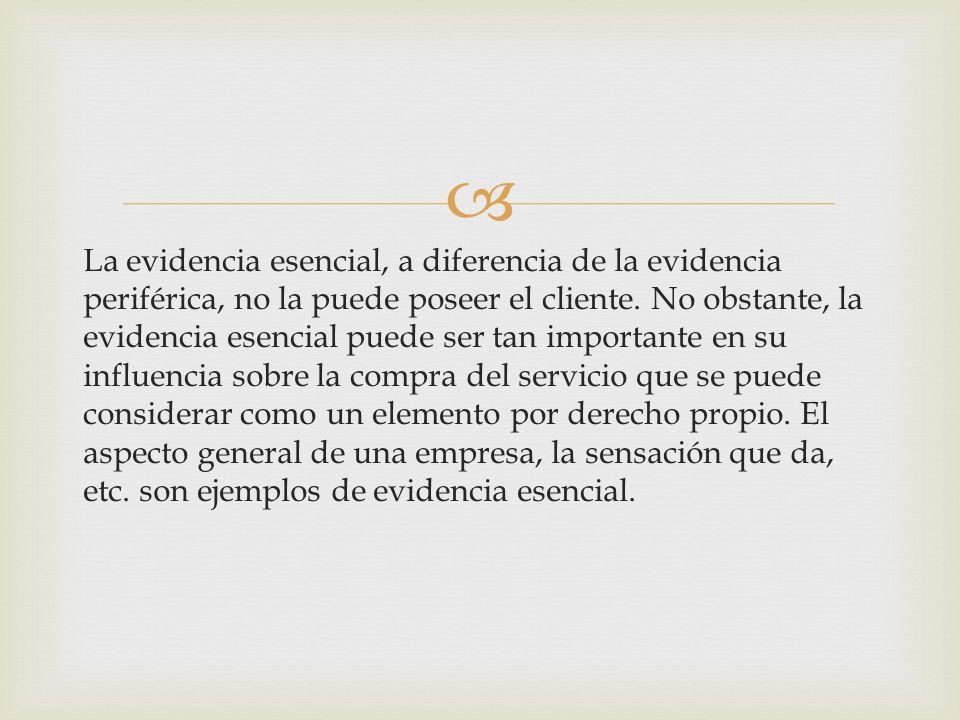 La evidencia esencial, a diferencia de la evidencia periférica, no la puede poseer el cliente.