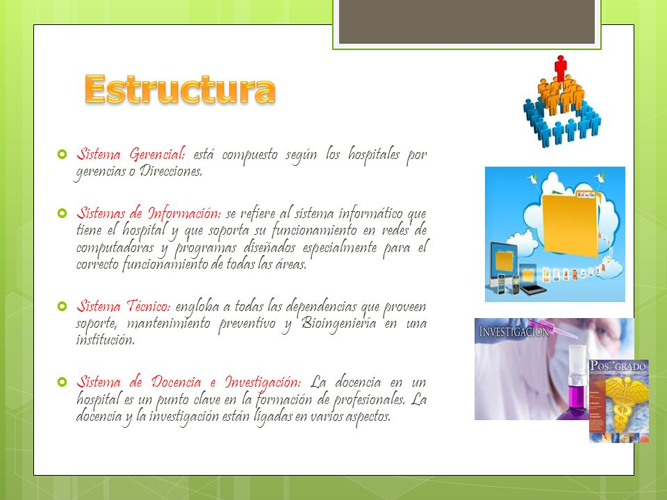 EstructuraSistema Gerencial: está compuesto según los hospitales por gerencias o Direcciones.
