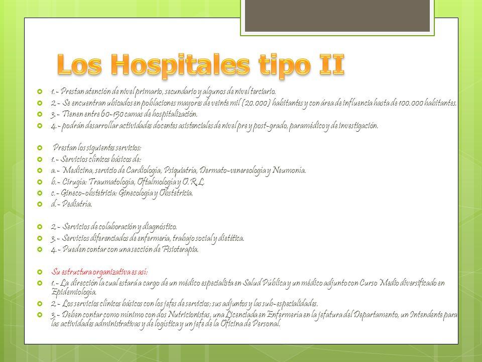 Los Hospitales tipo II1.- Prestan atención de nivel primario, secundario y algunos de nivel terciario.