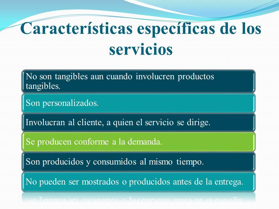 Características específicas de los servicios