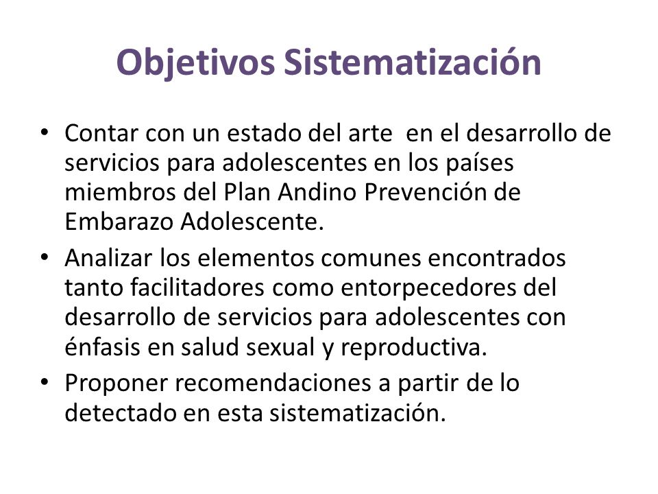 Objetivos Sistematización