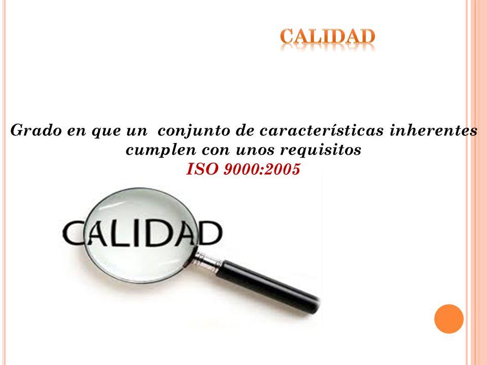 CALIDAD Grado en que un conjunto de características inherentes cumplen con unos requisitos.