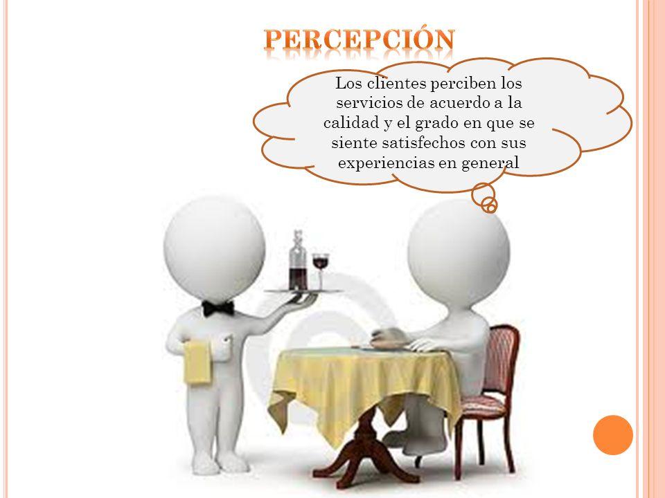 percepción Los clientes perciben los servicios de acuerdo a la calidad y el grado en que se siente satisfechos con sus experiencias en general.