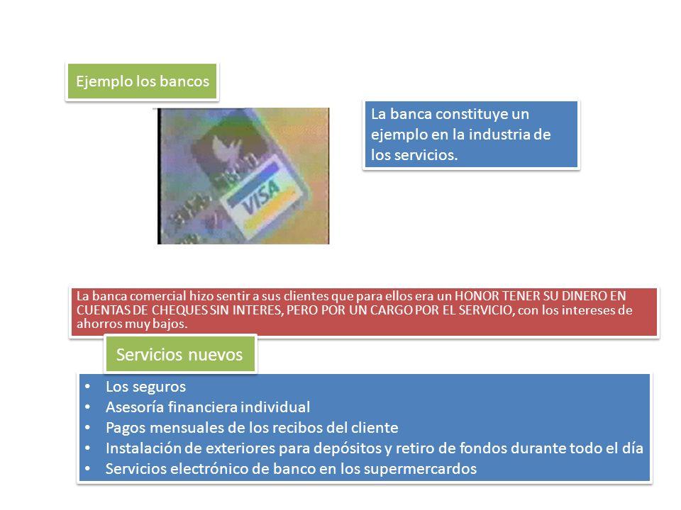 Servicios nuevos Ejemplo los bancos