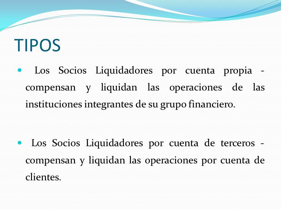 TIPOS Los Socios Liquidadores por cuenta propia - compensan y liquidan las operaciones de las instituciones integrantes de su grupo financiero.