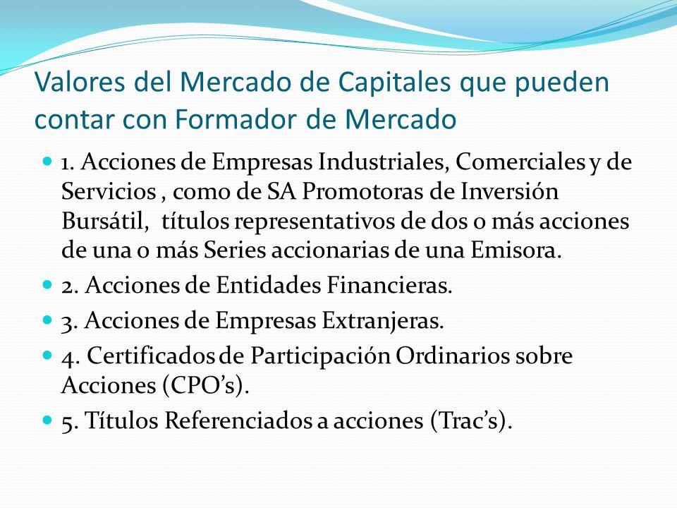 Valores del Mercado de Capitales que pueden contar con Formador de Mercado