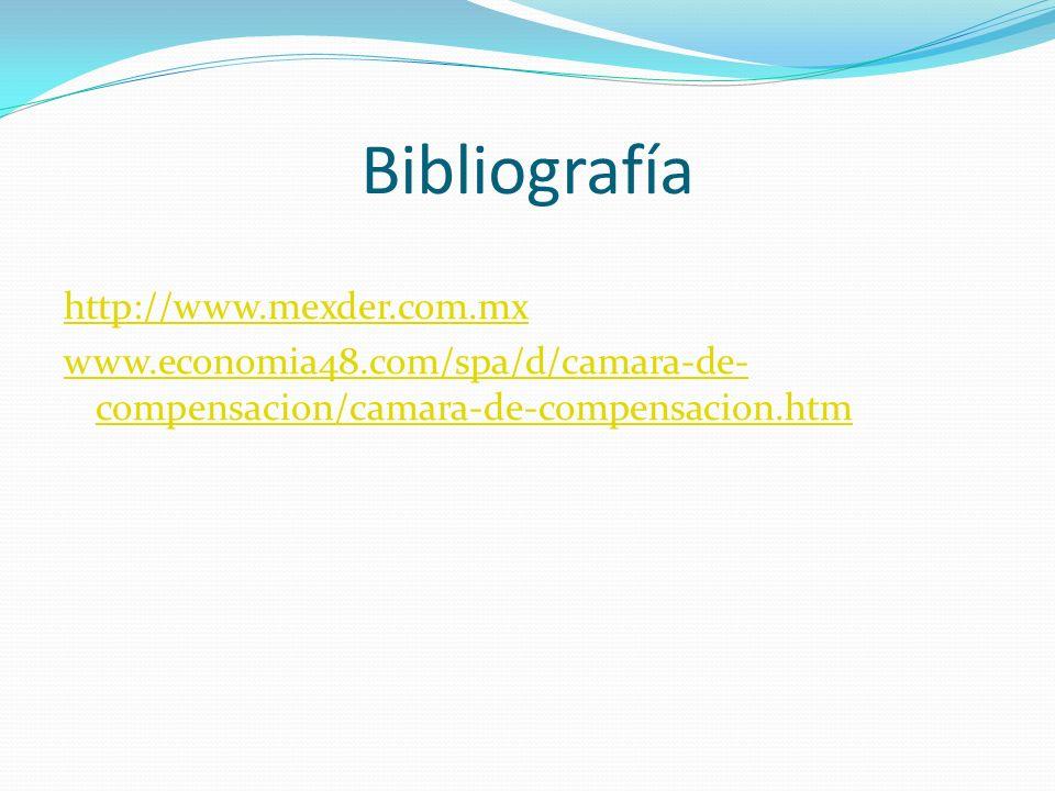 Bibliografía http://www.mexder.com.mx www.economia48.com/spa/d/camara-de-compensacion/camara-de-compensacion.htm