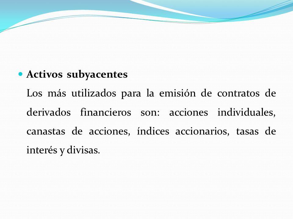 Activos subyacentes____________________________ Los más utilizados para la emisión de contratos de derivados financieros son: acciones individuales, canastas de acciones, índices accionarios, tasas de interés y divisas.