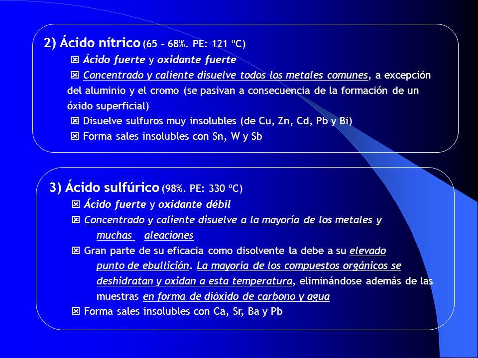 2) Ácido nítrico (65 – 68%. PE: 121 ºC)