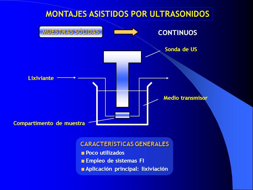 MONTAJES ASISTIDOS POR ULTRASONIDOS Compartimento de muestra