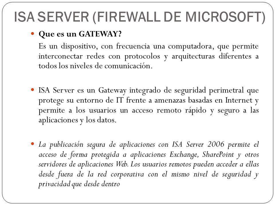 ISA SERVER (FIREWALL DE MICROSOFT)