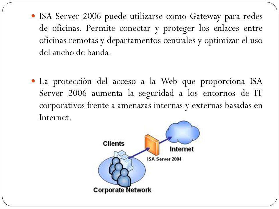 ISA Server 2006 puede utilizarse como Gateway para redes de oficinas