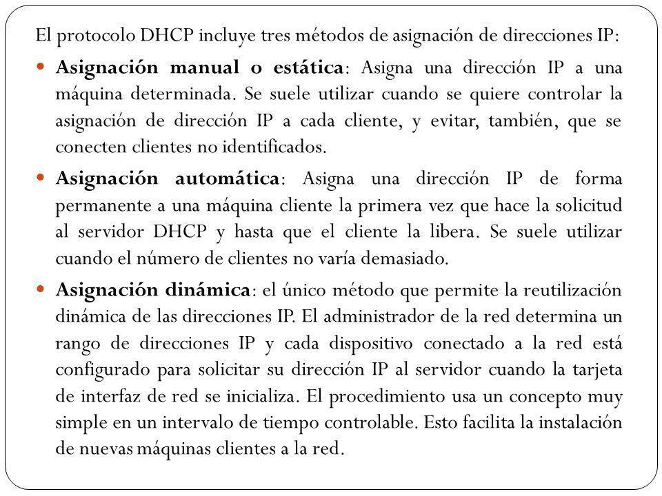 El protocolo DHCP incluye tres métodos de asignación de direcciones IP: