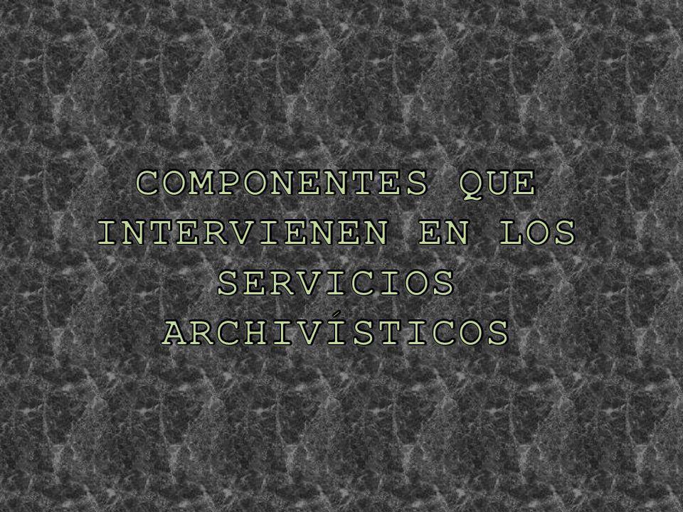 COMPONENTES QUE INTERVIENEN EN LOS SERVICIOS ARCHIVÍSTICOS