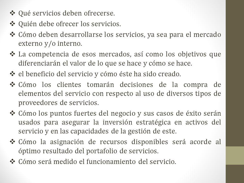 Qué servicios deben ofrecerse.