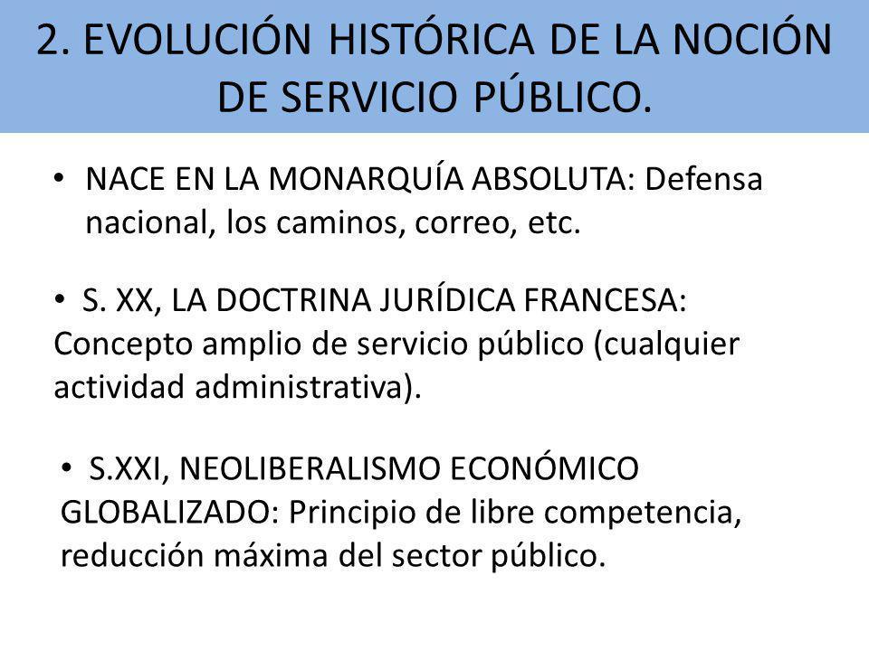 2. EVOLUCIÓN HISTÓRICA DE LA NOCIÓN DE SERVICIO PÚBLICO.