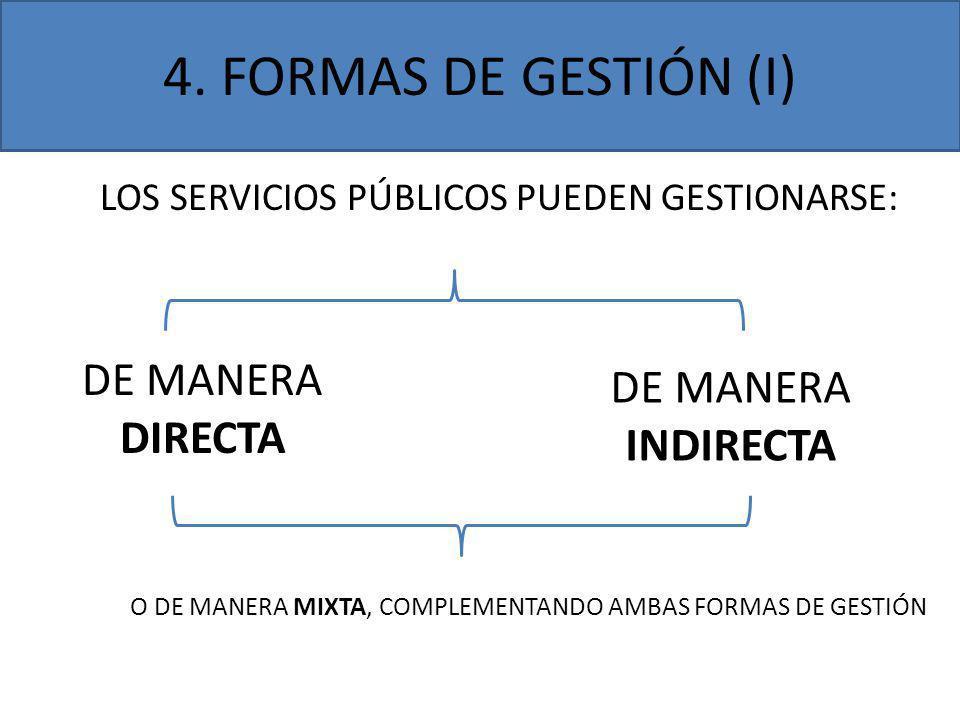 4. FORMAS DE GESTIÓN (I) DE MANERA DE MANERA INDIRECTA DIRECTA
