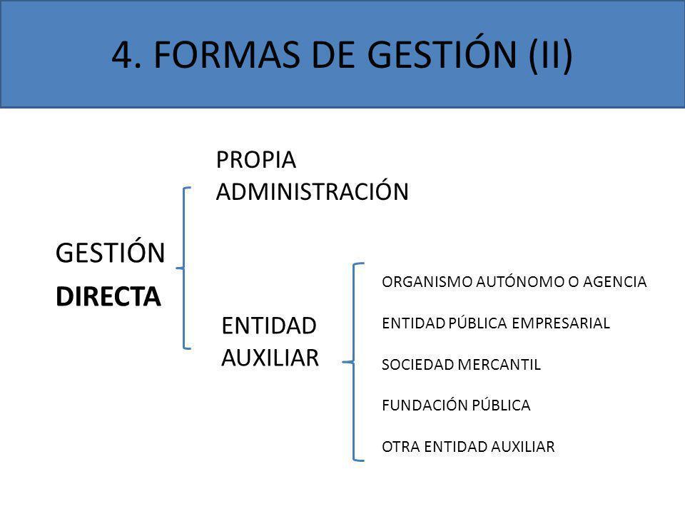 4. FORMAS DE GESTIÓN (II) GESTIÓN DIRECTA PROPIA ADMINISTRACIÓN