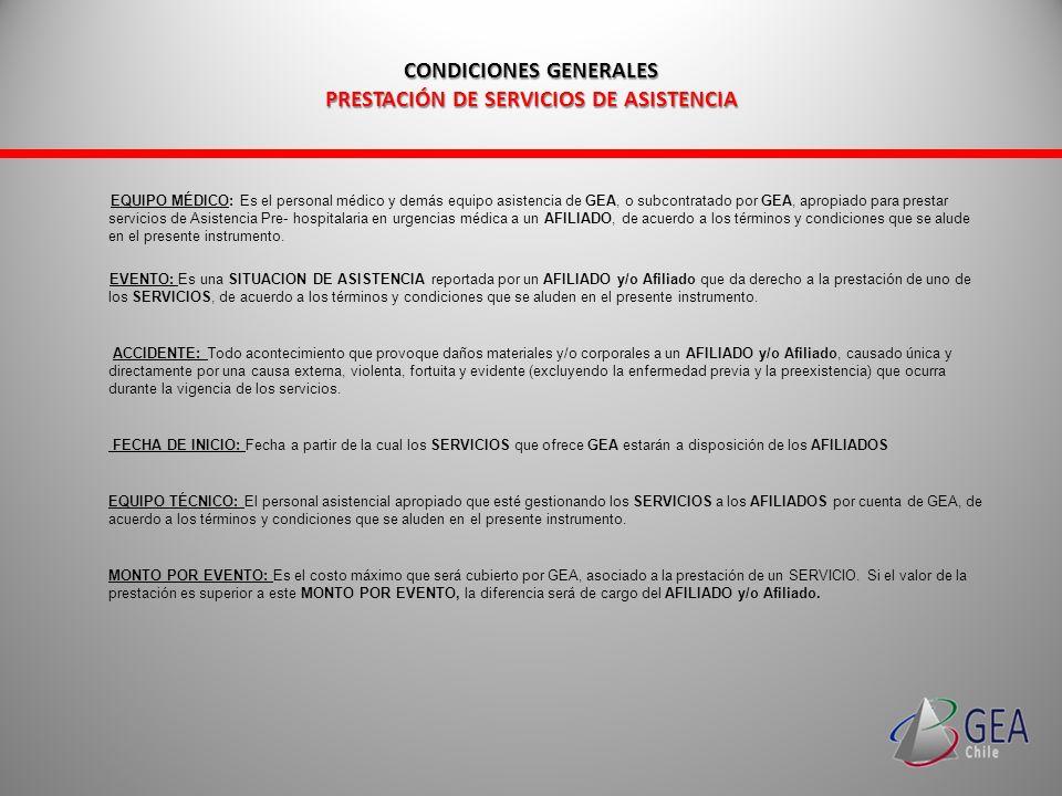 CONDICIONES GENERALES PRESTACIÓN DE SERVICIOS DE ASISTENCIA