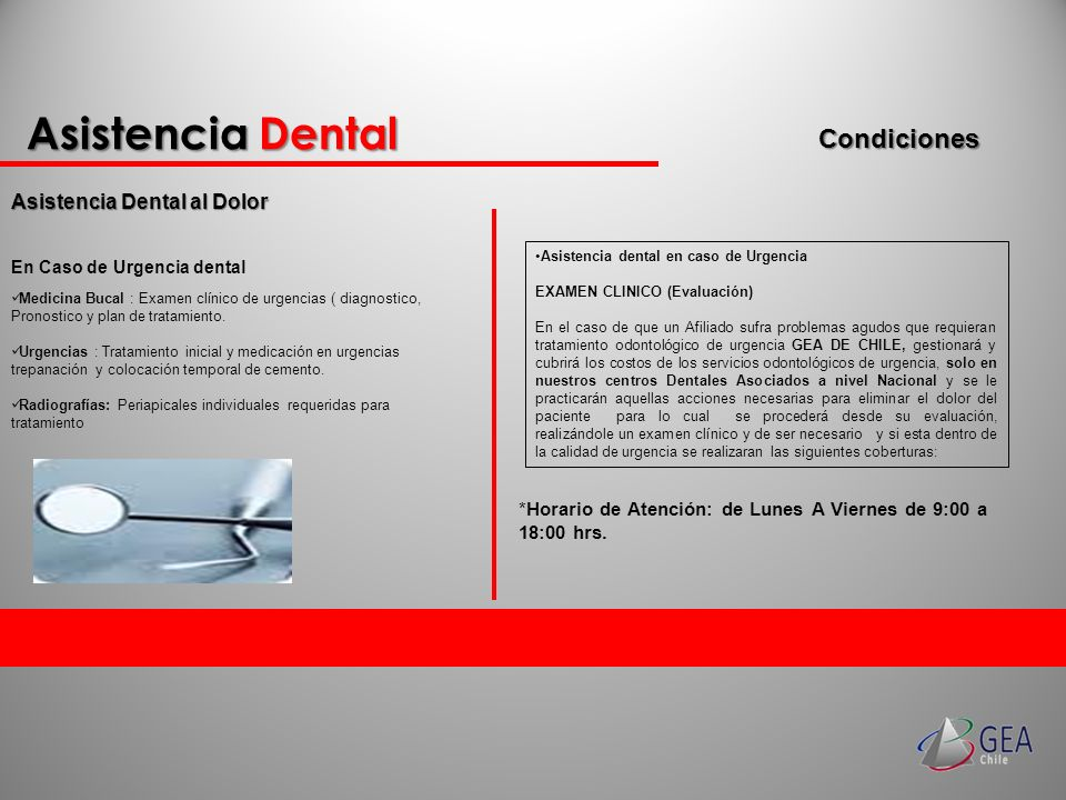 Asistencia Dental Condiciones Asistencia Dental al Dolor