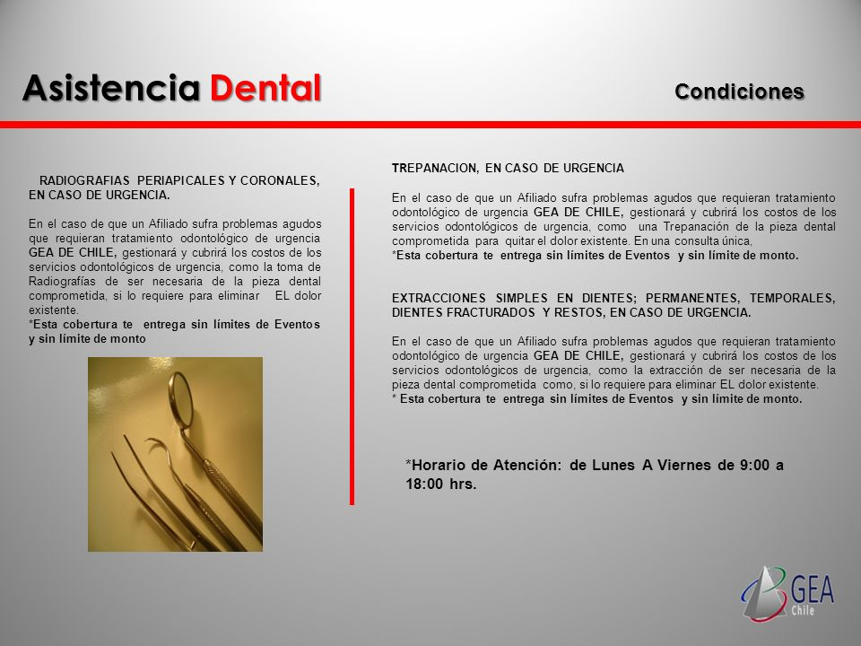 Asistencia Dental Condiciones