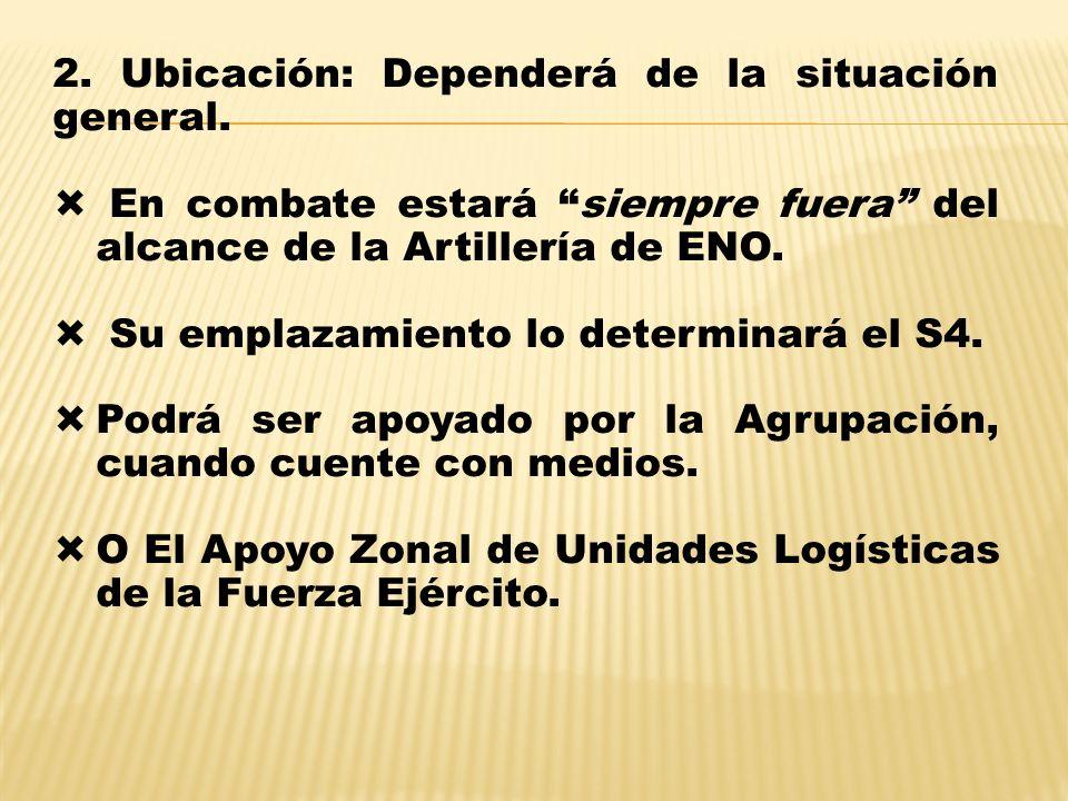 2. Ubicación: Dependerá de la situación general.
