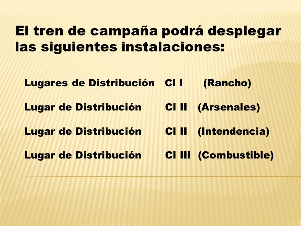 El tren de campaña podrá desplegar las siguientes instalaciones: