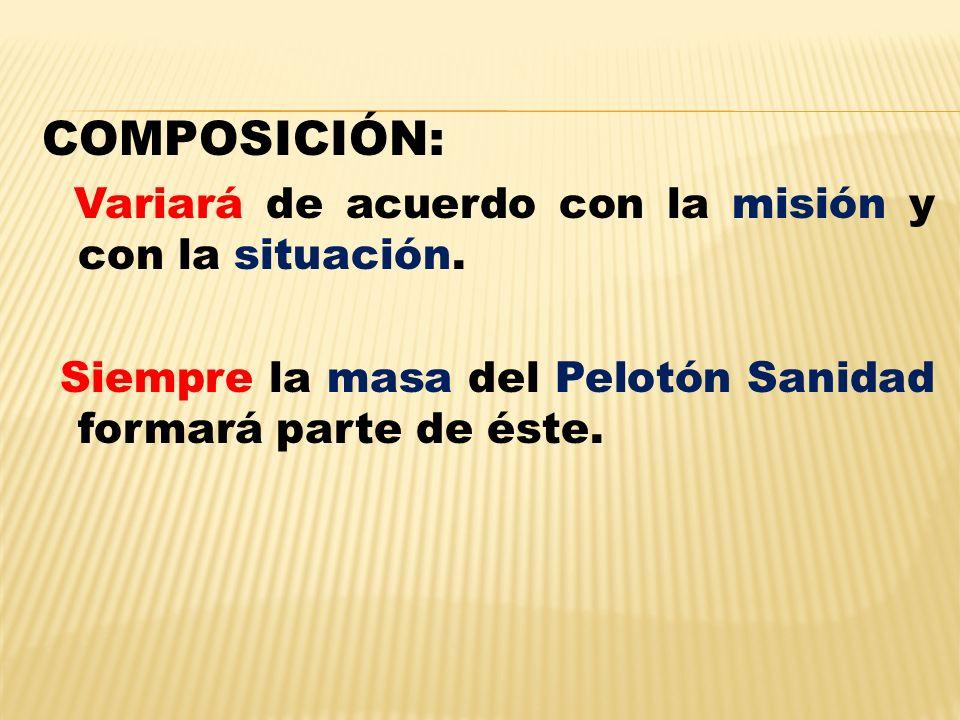 COMPOSICIÓN: Variará de acuerdo con la misión y con la situación.