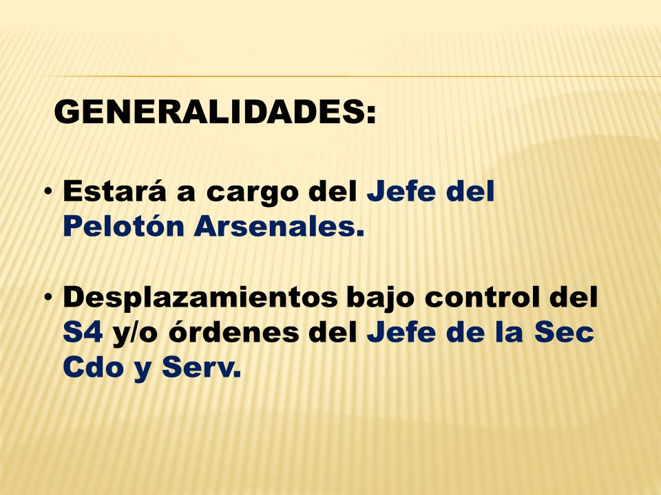 GENERALIDADES: Estará a cargo del Jefe del Pelotón Arsenales.