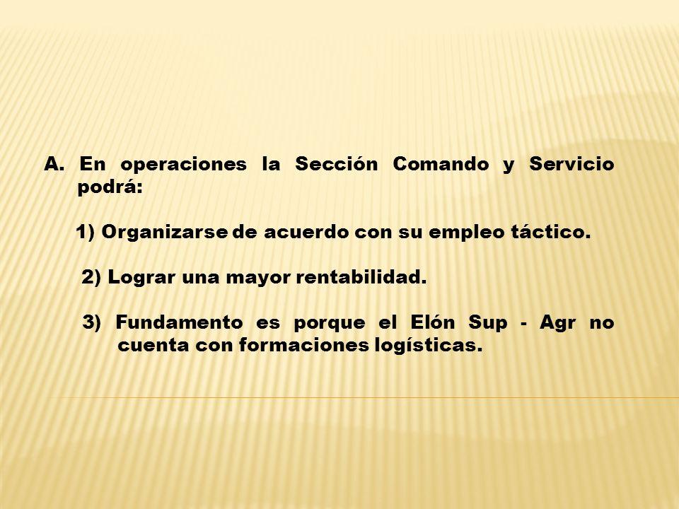 A. En operaciones la Sección Comando y Servicio podrá: