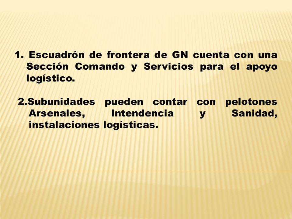 1. Escuadrón de frontera de GN cuenta con una Sección Comando y Servicios para el apoyo logístico.
